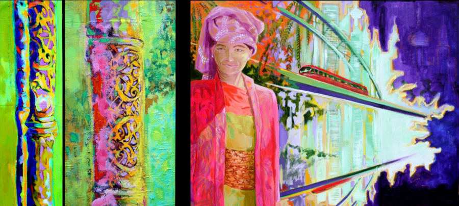 1. Borneo Bambo. 110cm x 29cm. Oil and acryllic on canvas. 2.Pink Bamboo.110cm x 58cm. Oil and acryllic on canvas and wood. 3.Java Woman in the Skyline. 110cm x 142cm. Acryllic on canvas, wood and paper.www.dortegjerlov.com